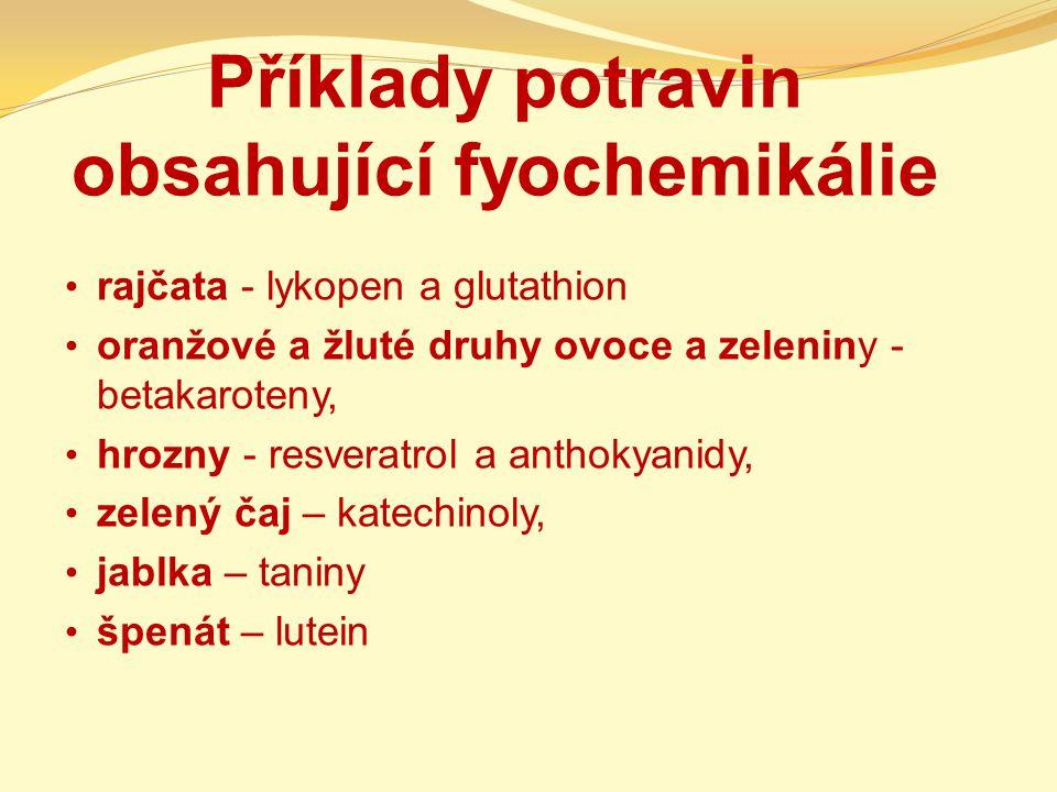 Příklady potravin obsahující fyochemikálie