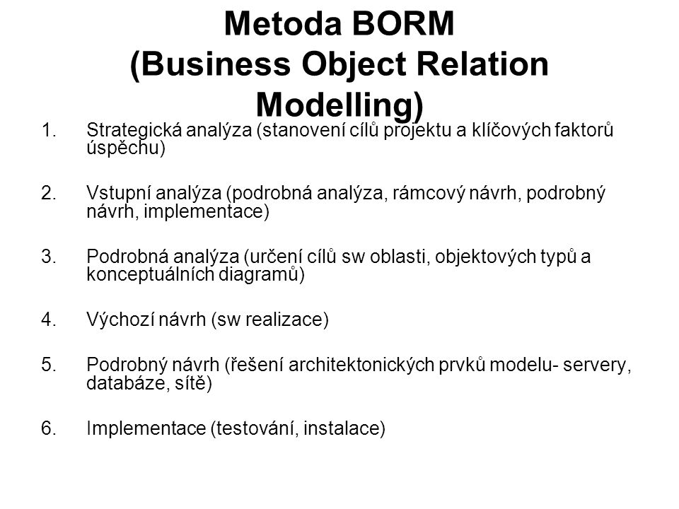Metoda BORM (Business Object Relation Modelling)