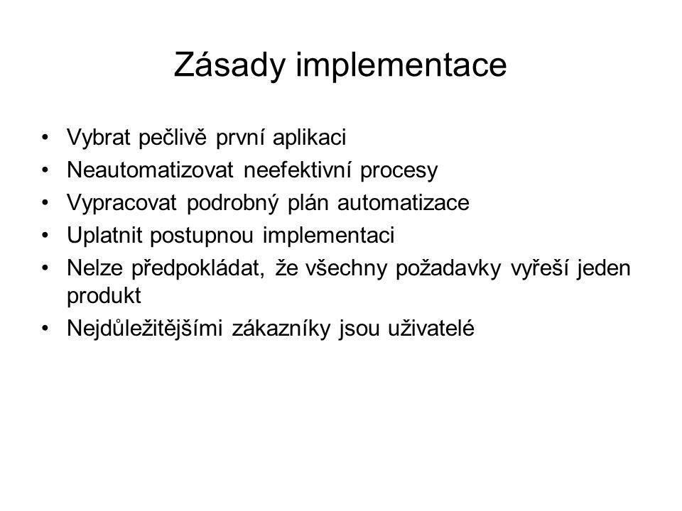 Zásady implementace Vybrat pečlivě první aplikaci