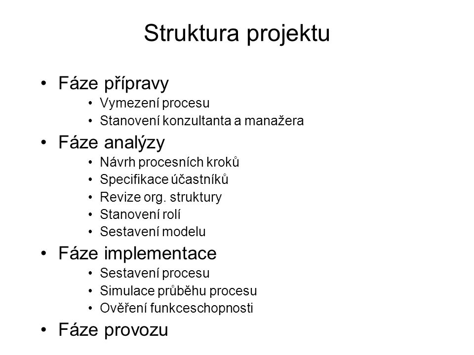 Struktura projektu Fáze přípravy Fáze analýzy Fáze implementace
