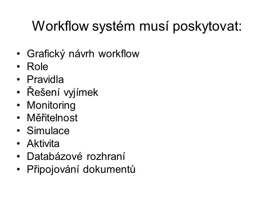 Workflow systém musí poskytovat:
