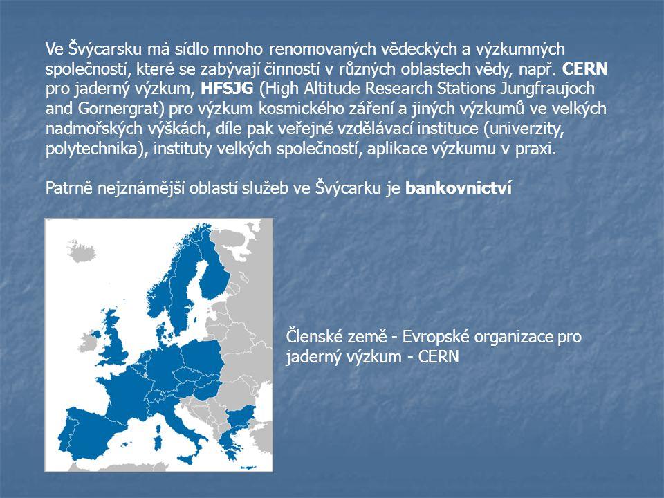Ve Švýcarsku má sídlo mnoho renomovaných vědeckých a výzkumných společností, které se zabývají činností v různých oblastech vědy, např. CERN pro jaderný výzkum, HFSJG (High Altitude Research Stations Jungfraujoch and Gornergrat) pro výzkum kosmického záření a jiných výzkumů ve velkých nadmořských výškách, díle pak veřejné vzdělávací instituce (univerzity, polytechnika), instituty velkých společností, aplikace výzkumu v praxi.