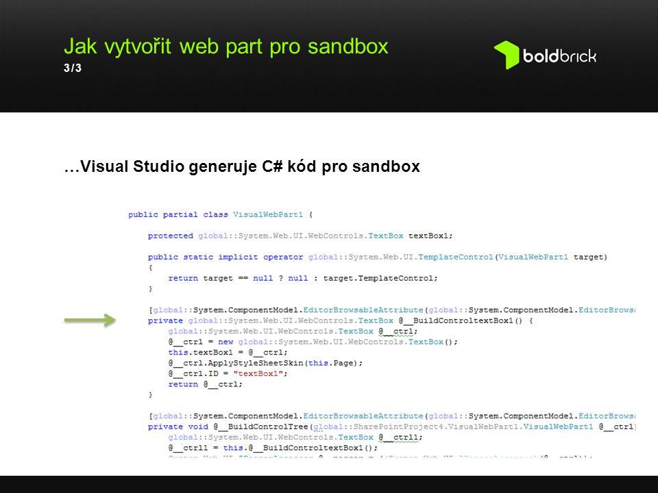 Jak vytvořit web part pro sandbox