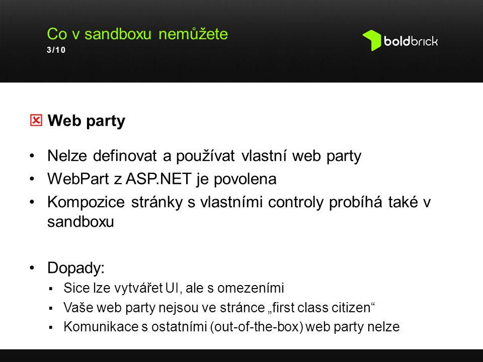Nelze definovat a používat vlastní web party