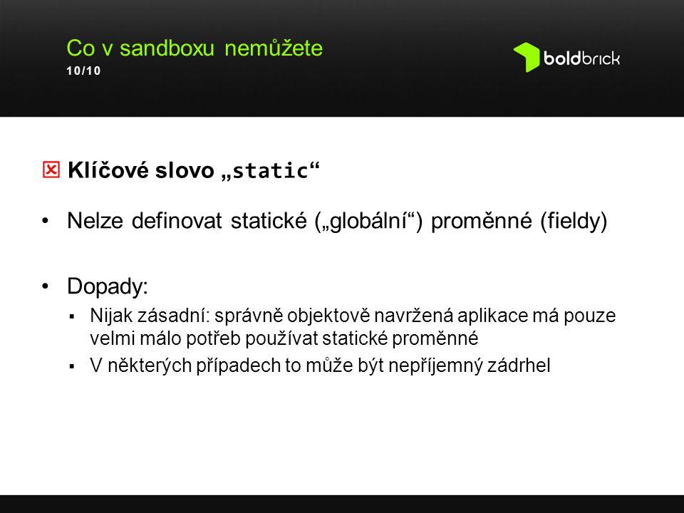 " Klíčové slovo ""static"