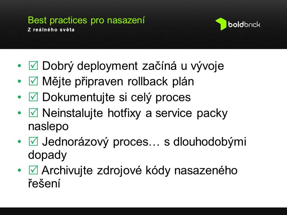 Best practices pro nasazení