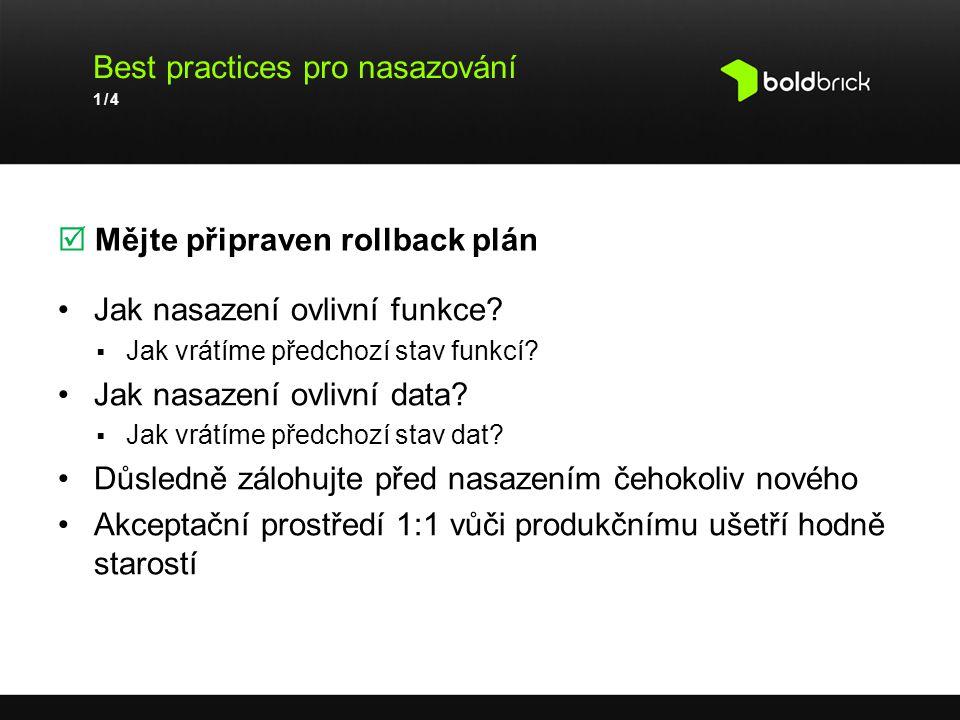 Best practices pro nasazování