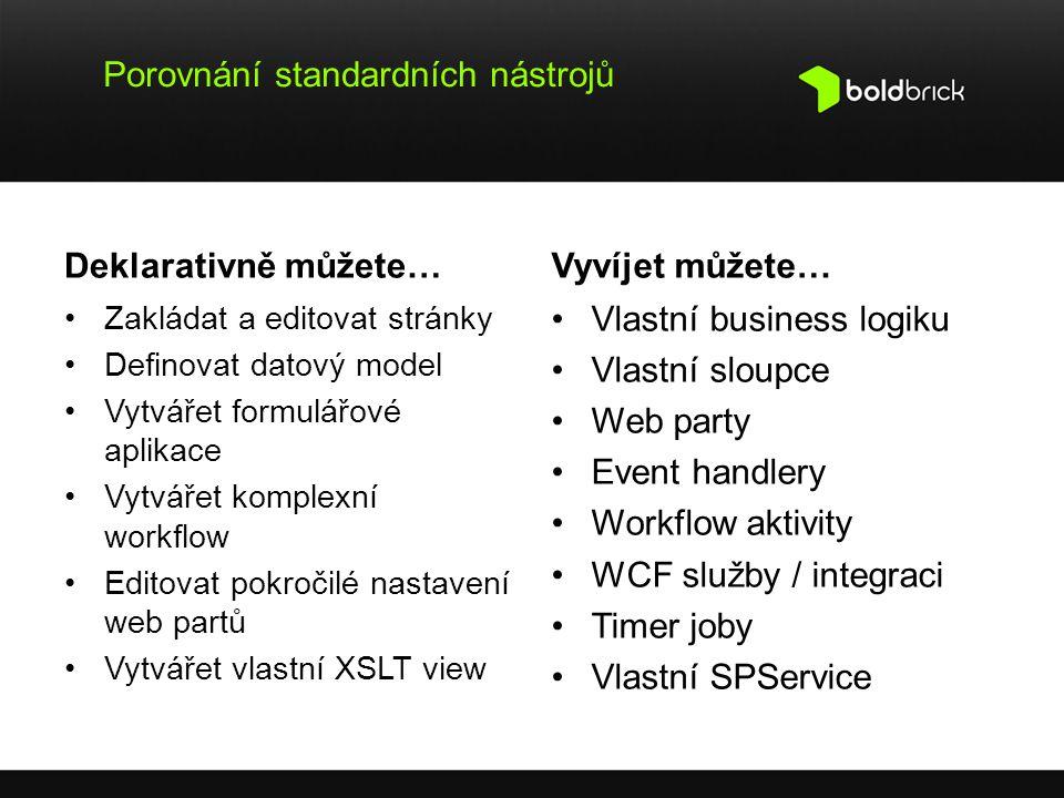Porovnání standardních nástrojů