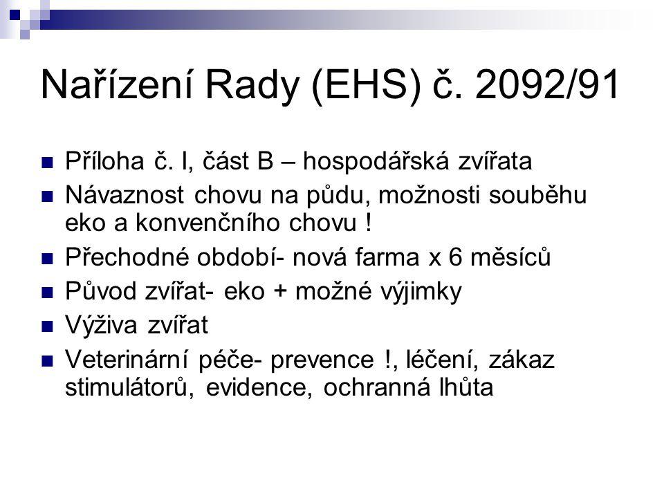 Nařízení Rady (EHS) č. 2092/91 Příloha č. I, část B – hospodářská zvířata. Návaznost chovu na půdu, možnosti souběhu eko a konvenčního chovu !