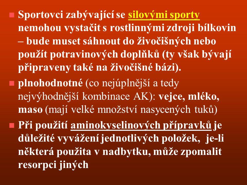 Sportovci zabývající se silovými sporty nemohou vystačit s rostlinnými zdroji bílkovin – bude muset sáhnout do živočišných nebo použít potravinových doplňků (ty však bývají připraveny také na živočišné bázi).