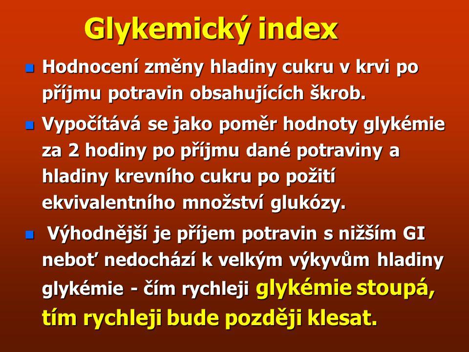 Glykemický index Hodnocení změny hladiny cukru v krvi po příjmu potravin obsahujících škrob.