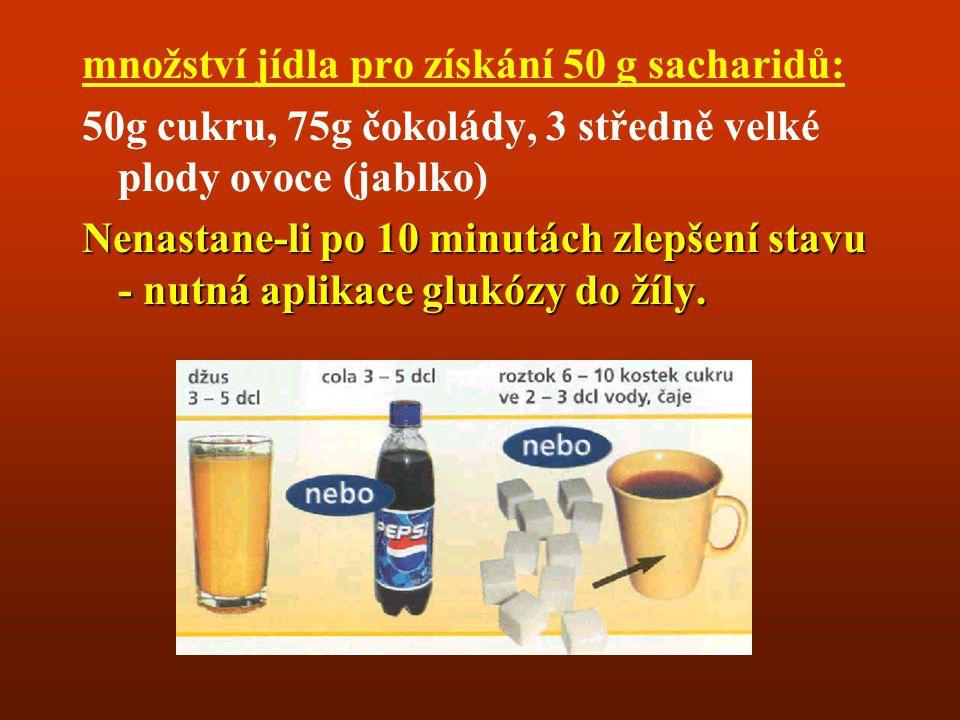 množství jídla pro získání 50 g sacharidů:
