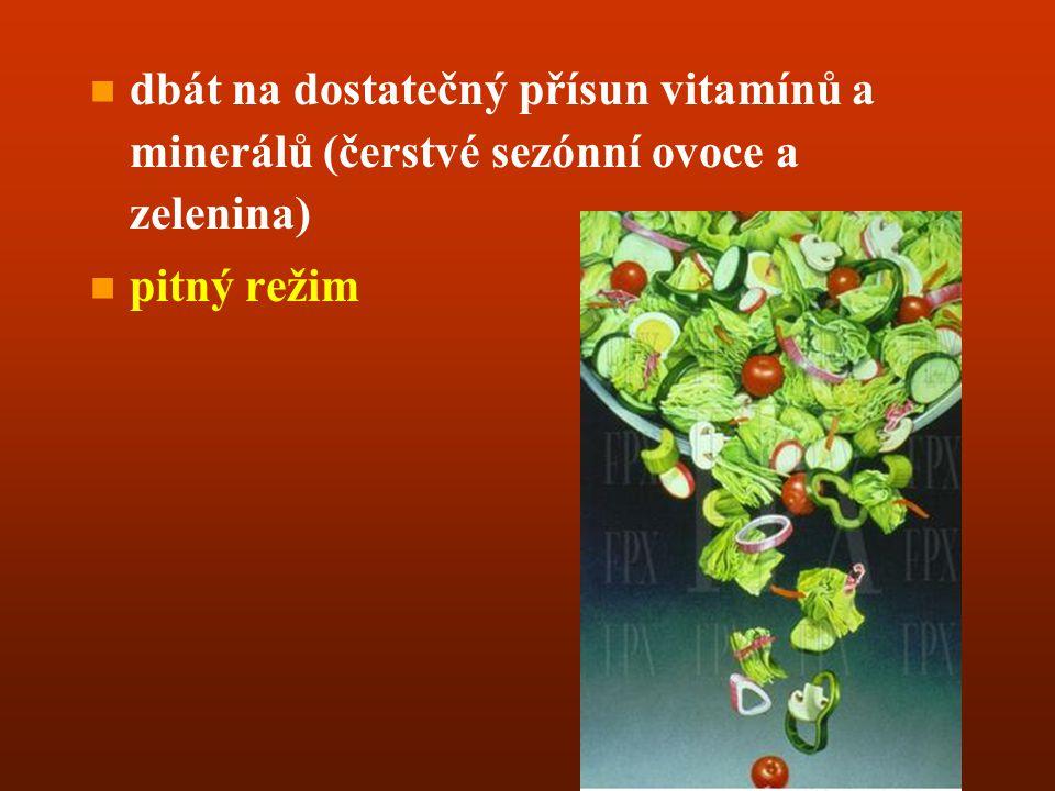 dbát na dostatečný přísun vitamínů a minerálů (čerstvé sezónní ovoce a zelenina)