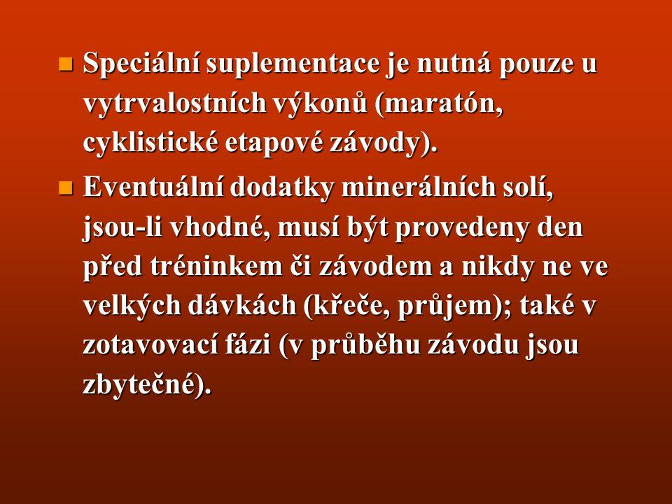 Speciální suplementace je nutná pouze u vytrvalostních výkonů (maratón, cyklistické etapové závody).