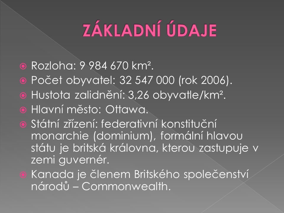 ZÁKLADNÍ ÚDAJE Rozloha: 9 984 670 km².