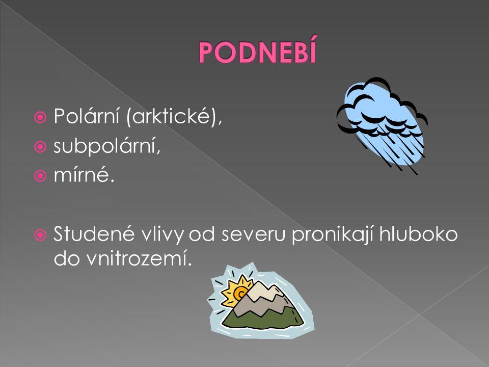 PODNEBÍ Polární (arktické), subpolární, mírné.