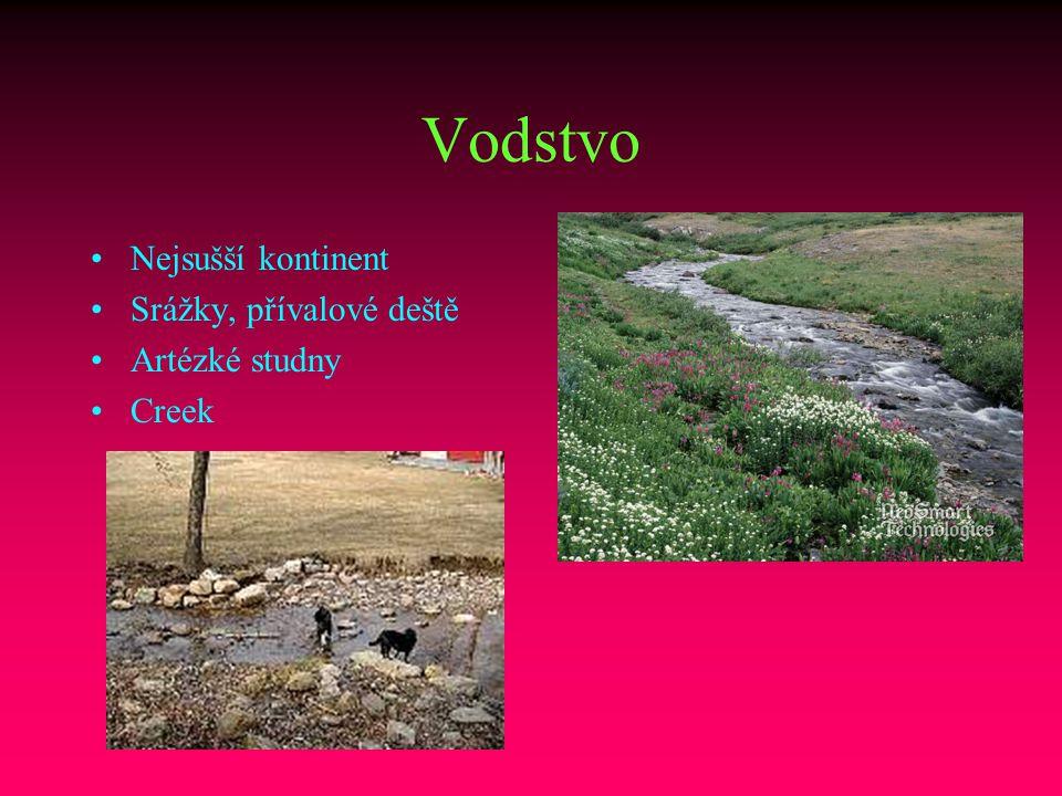 Vodstvo Nejsušší kontinent Srážky, přívalové deště Artézké studny