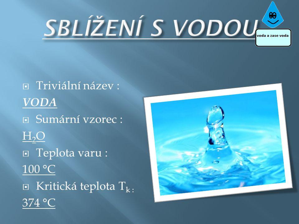 SBLÍŽENÍ S VODOU Triviální název : VODA Sumární vzorec : H2O