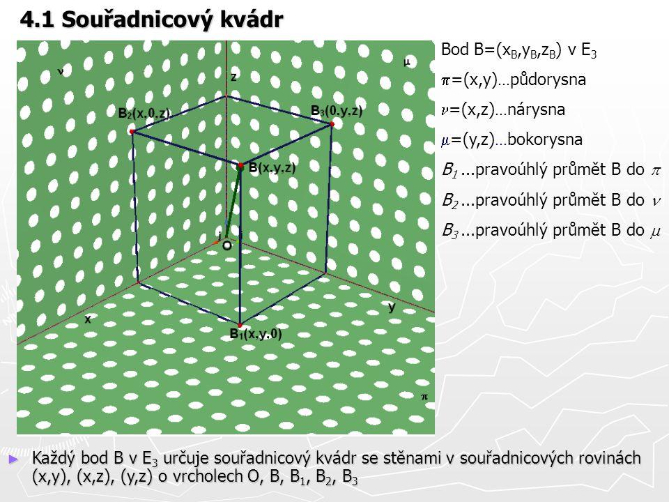 4.1 Souřadnicový kvádr Bod B=(xB,yB,zB) v E3 p=(x,y)...půdorysna