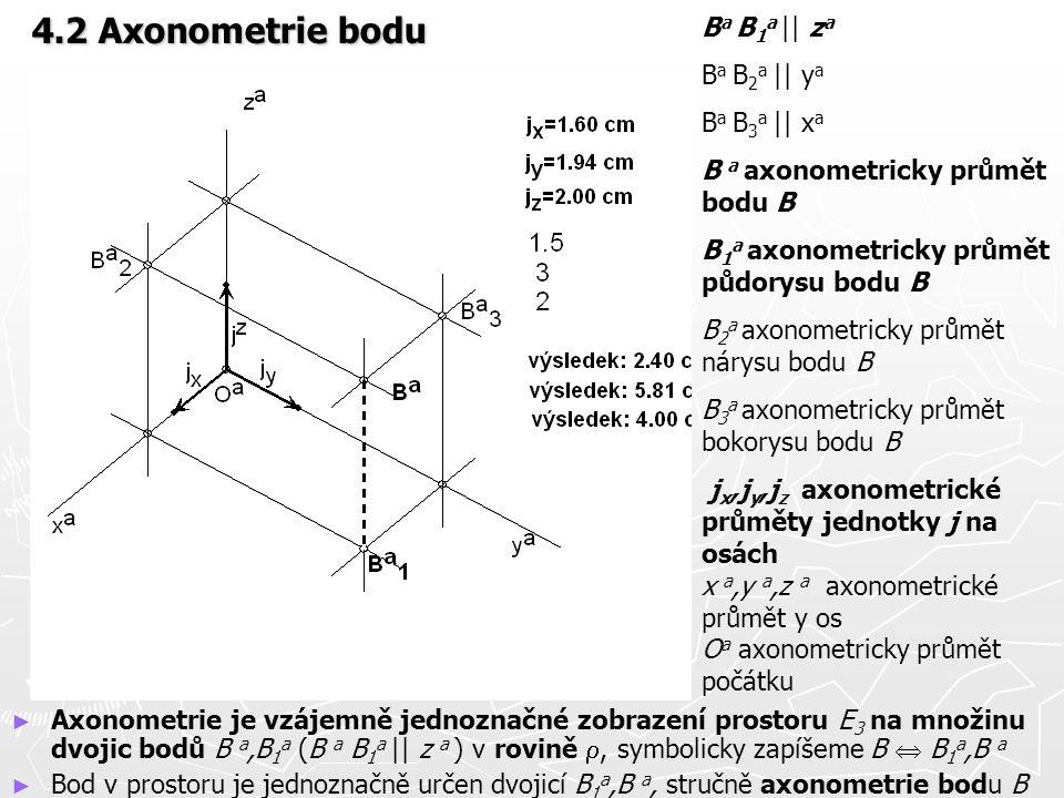 4.2 Axonometrie bodu Ba B1a || za Ba B2a || ya Ba B3a || xa