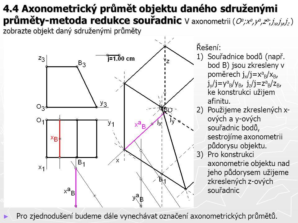 4.4 Axonometrický průmět objektu daného sdruženými průměty-metoda redukce souřadnic V axonometrii (Oa;xa,ya,za;jx,jy,jz ) zobrazte objekt daný sdruženými průměty