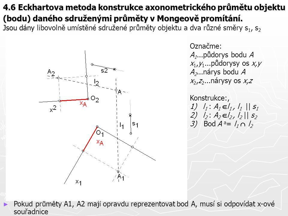 4.6 Eckhartova metoda konstrukce axonometrického průmětu objektu (bodu) daného sdruženými průměty v Mongeově promítání. Jsou dány libovolně umístěné sdružené průměty objektu a dva různé směry s1, s2