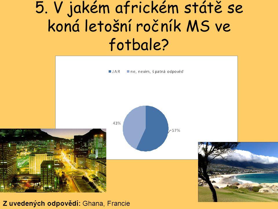 5. V jakém africkém státě se koná letošní ročník MS ve fotbale