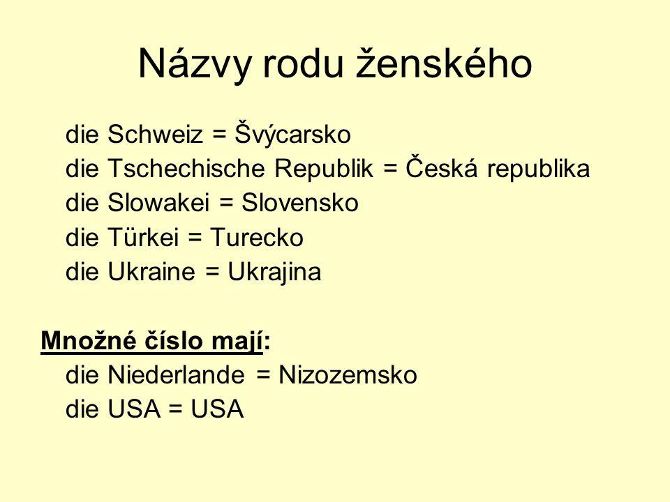 Názvy rodu ženského die Schweiz = Švýcarsko
