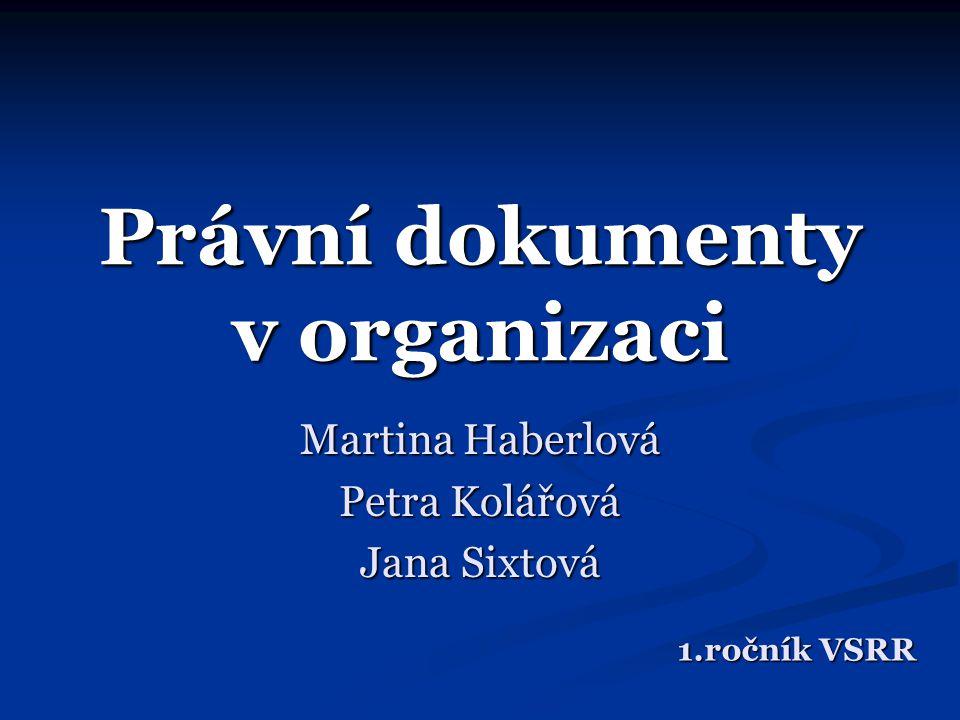 Právní dokumenty v organizaci
