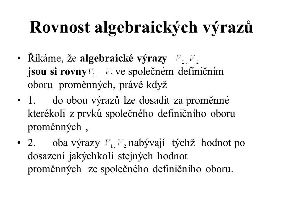 Rovnost algebraických výrazů