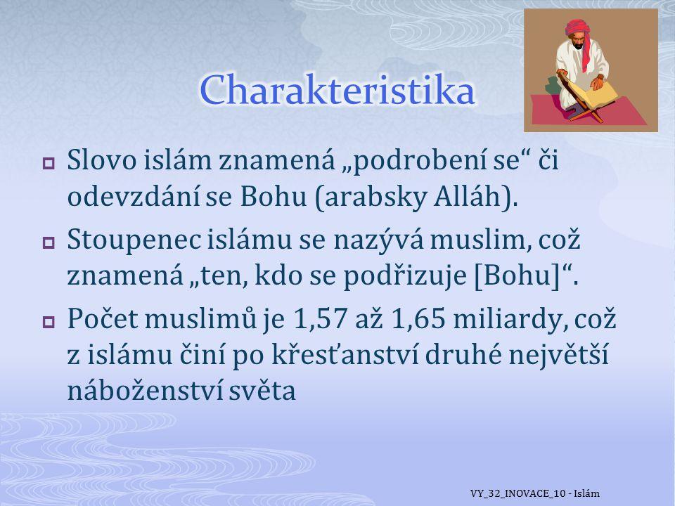 """Charakteristika Slovo islám znamená """"podrobení se či odevzdání se Bohu (arabsky Alláh)."""