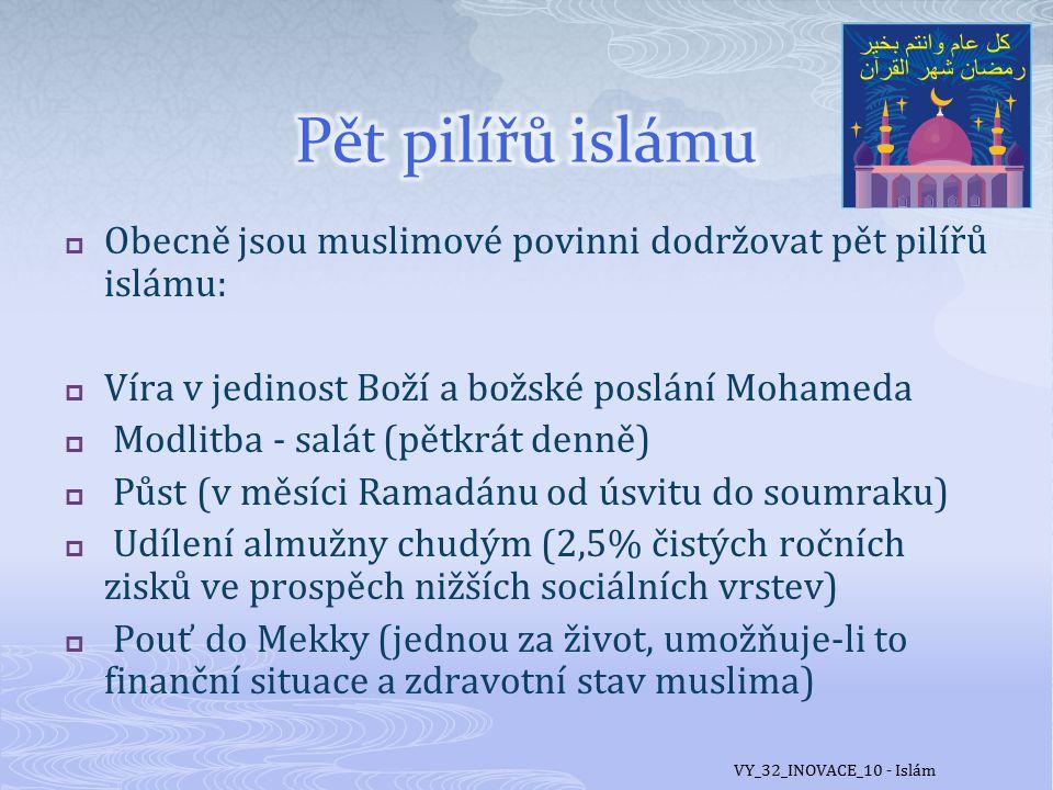 Pět pilířů islámu Obecně jsou muslimové povinni dodržovat pět pilířů islámu: Víra v jedinost Boží a božské poslání Mohameda.