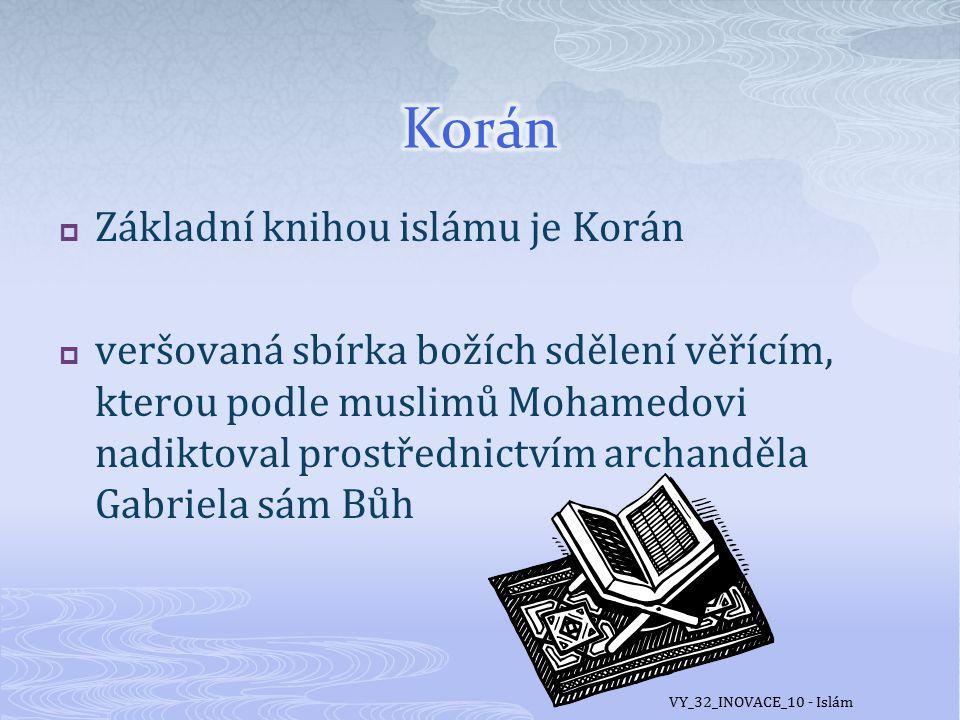Korán Základní knihou islámu je Korán