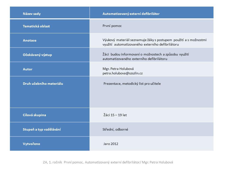 Název sady Automatizovaný externí defibrilátor. Tematická oblast. První pomoc. Anotace.