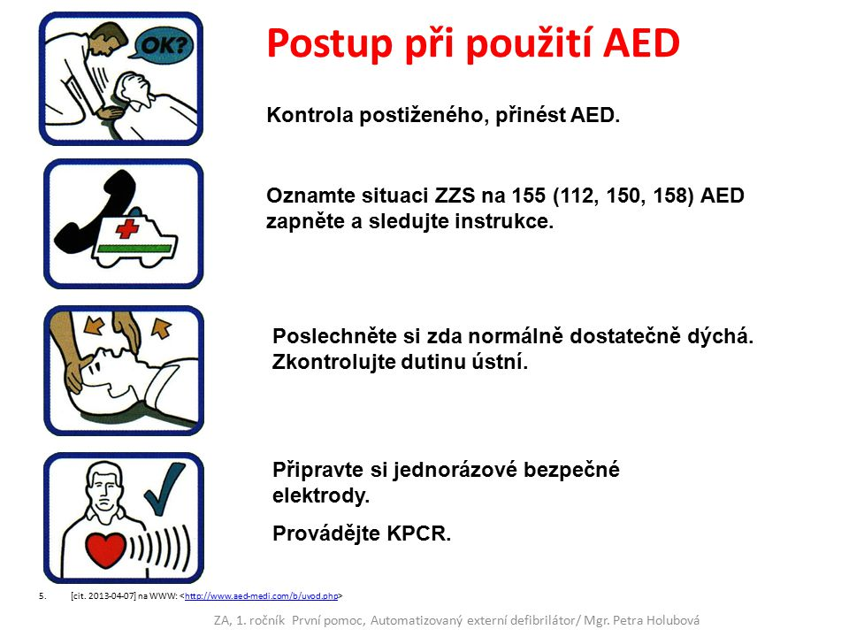 Postup při použití AED Kontrola postiženého, přinést AED.