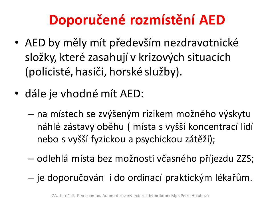 Doporučené rozmístění AED