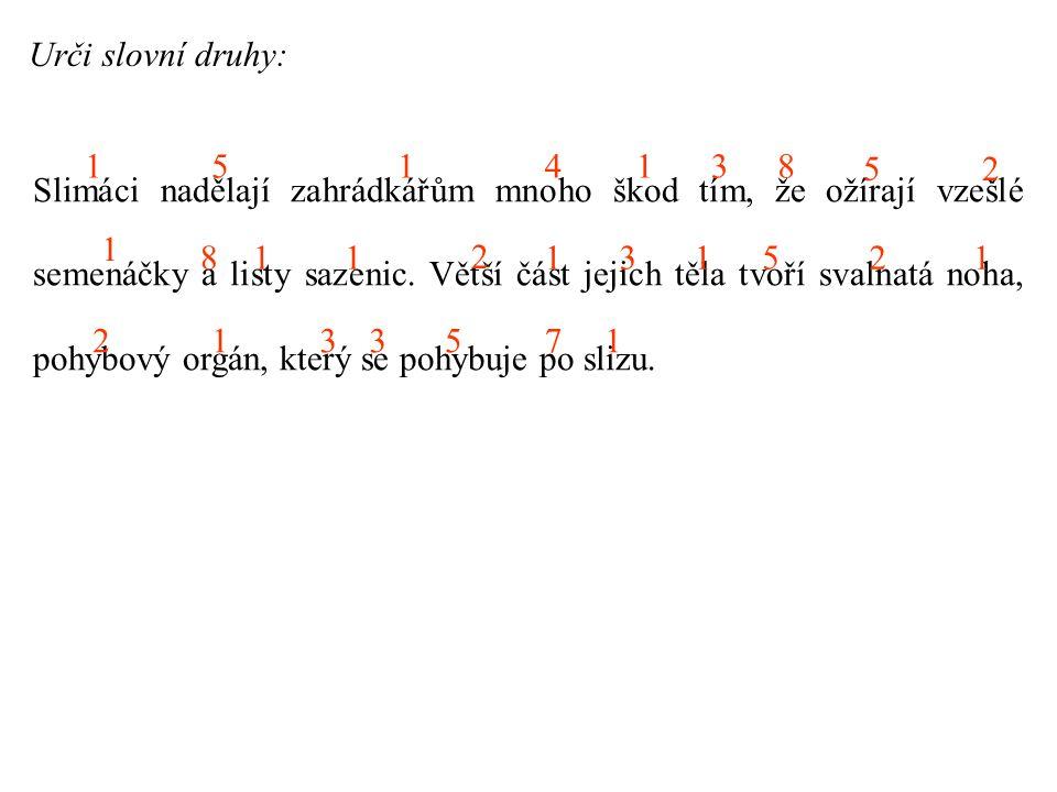 Urči slovní druhy: