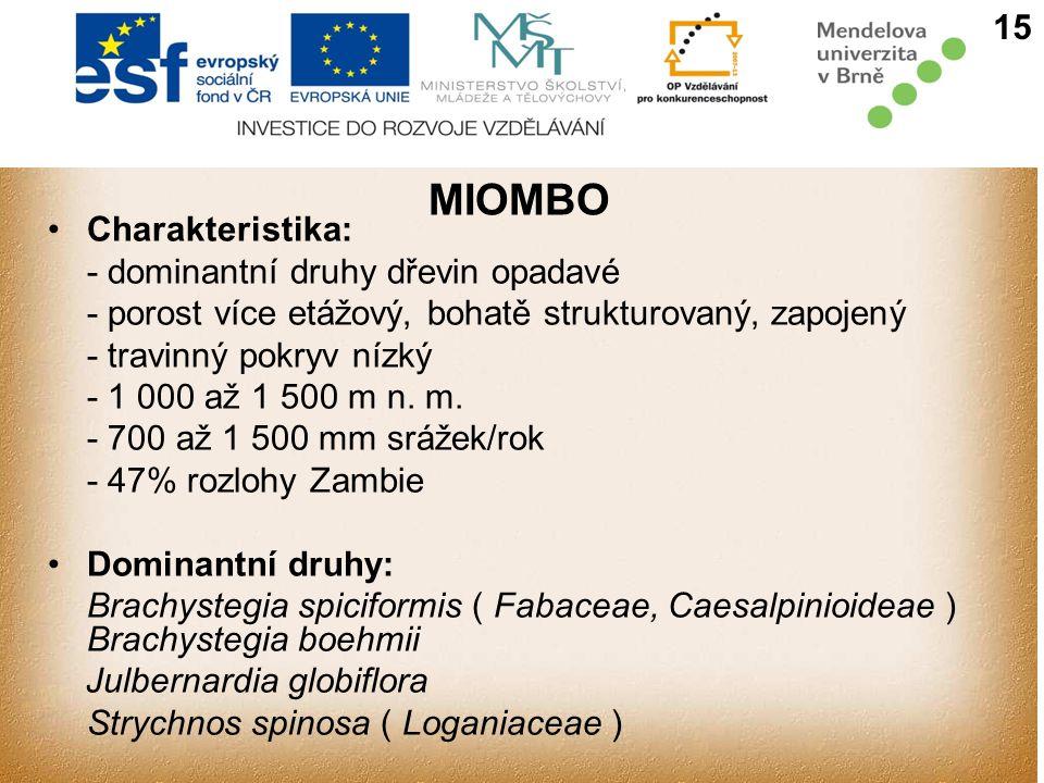 MIOMBO 15 Charakteristika: - dominantní druhy dřevin opadavé