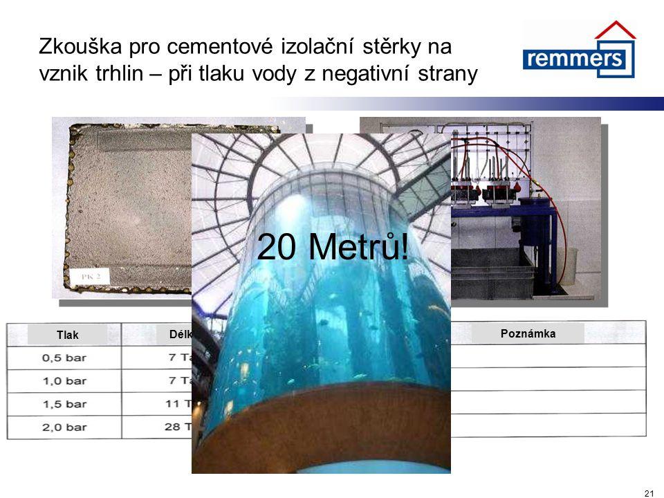 Zkouška pro cementové izolační stěrky na vznik trhlin – při tlaku vody z negativní strany