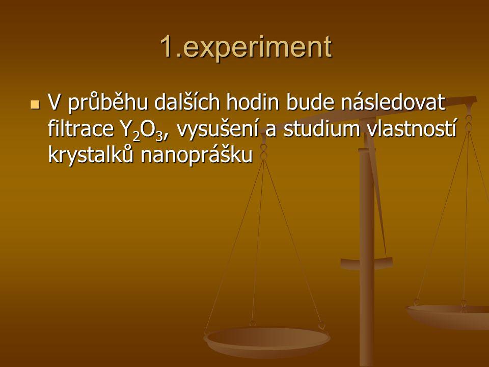 1.experiment V průběhu dalších hodin bude následovat filtrace Y2O3, vysušení a studium vlastností krystalků nanoprášku.