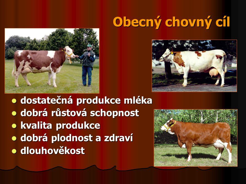 Obecný chovný cíl dostatečná produkce mléka dobrá růstová schopnost