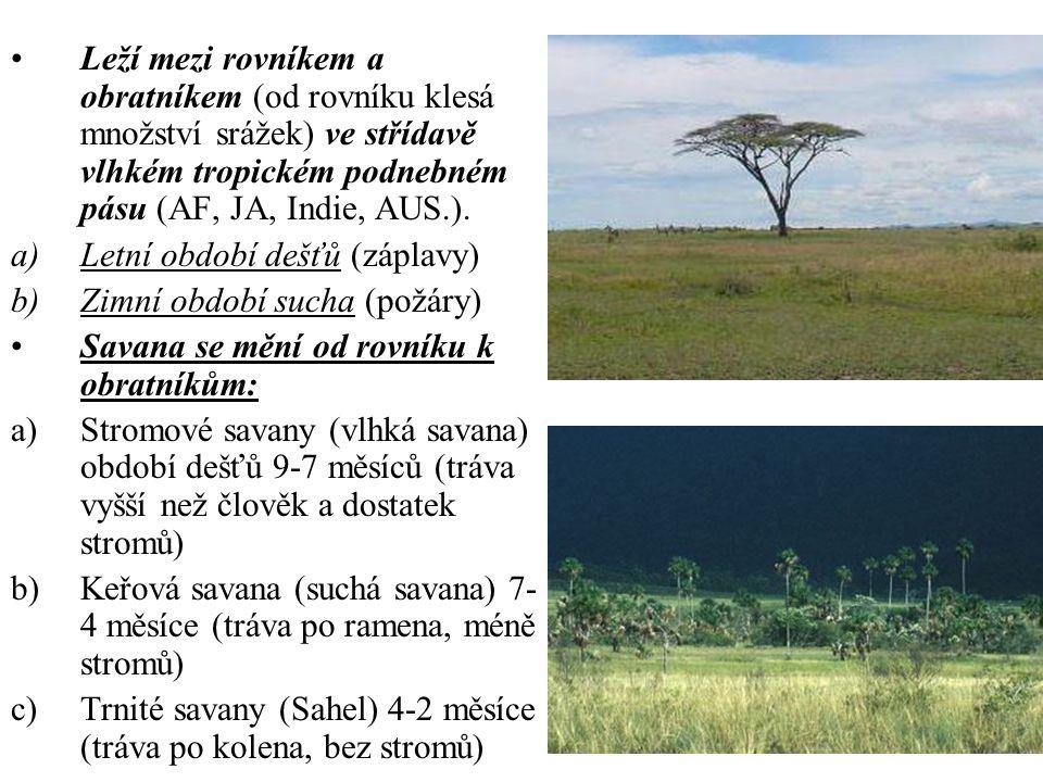 Leží mezi rovníkem a obratníkem (od rovníku klesá množství srážek) ve střídavě vlhkém tropickém podnebném pásu (AF, JA, Indie, AUS.).