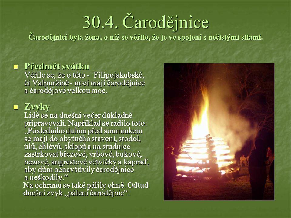 30.4. Čarodějnice Čarodějnicí byla žena, o níž se věřilo, že je ve spojení s nečistými silami.
