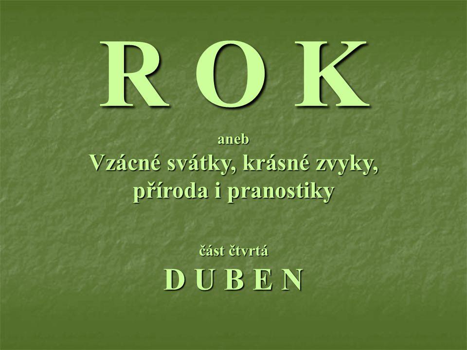 R O K aneb Vzácné svátky, krásné zvyky, příroda i pranostiky část čtvrtá D U B E N