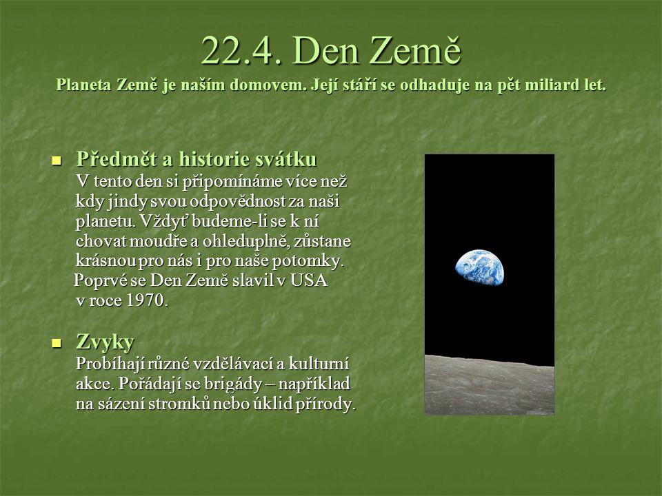 22. 4. Den Země Planeta Země je naším domovem