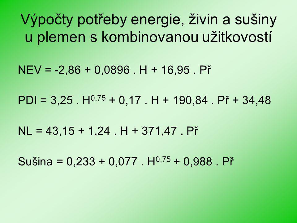 Výpočty potřeby energie, živin a sušiny u plemen s kombinovanou užitkovostí