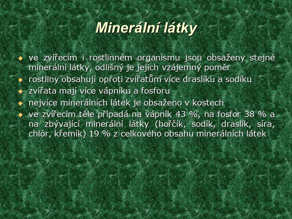 Minerální látky ve zvířecím i rostlinném organismu jsou obsaženy stejné minerální látky, odlišný je jejich vzájemný poměr.