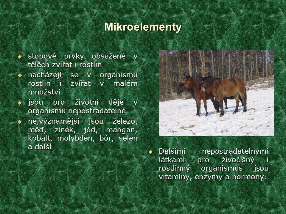 Mikroelementy stopové prvky obsažené v tělěch zvířat i rostlin