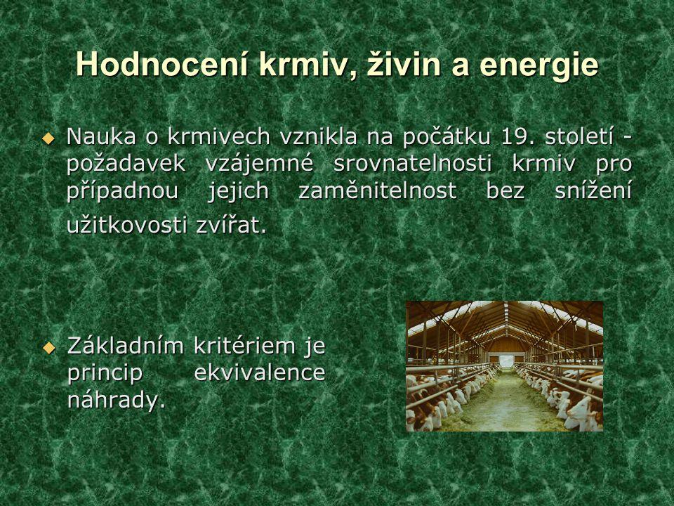 Hodnocení krmiv, živin a energie