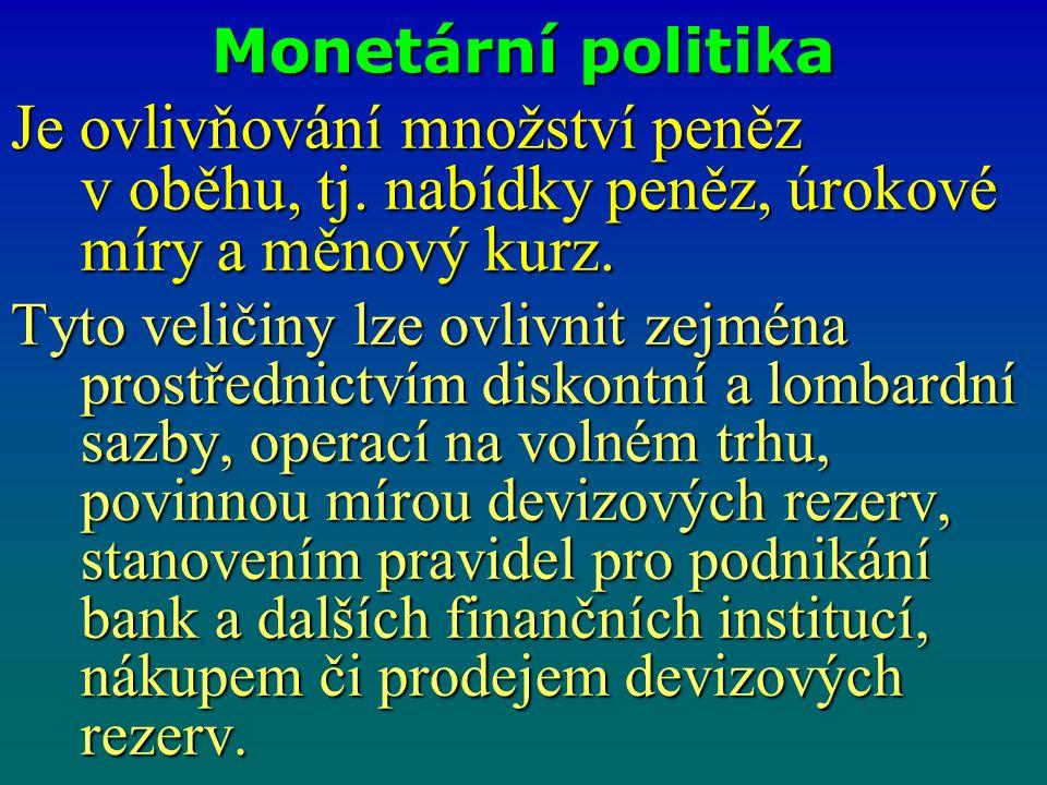 Monetární politika Je ovlivňování množství peněz v oběhu, tj. nabídky peněz, úrokové míry a měnový kurz.